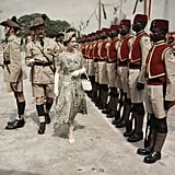 Queen Elizabeth II inspects the Queen's Own Nigeria Regiment in 1956.