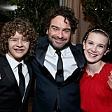 Gaten Matarazzo, Johnny Galecki, and Millie Bobby Brown