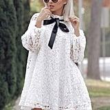 Shein Flower Lace-Neck Dress