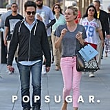 Diane Kruger wore a gray t-shirt and pink pants in LA.