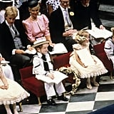 Prince William (far right) served as a pageboy during his uncle's wedding. He wore a sailor suit, which was chosen in tribute to Andrew's naval career.