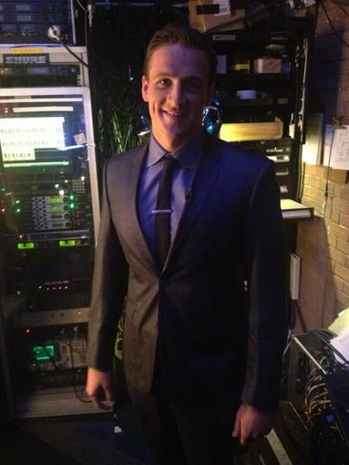 Ryan Lochte took a pic backstage before his appearance on The Late Show with David Letterman. Source: Twitter user ryanlochte