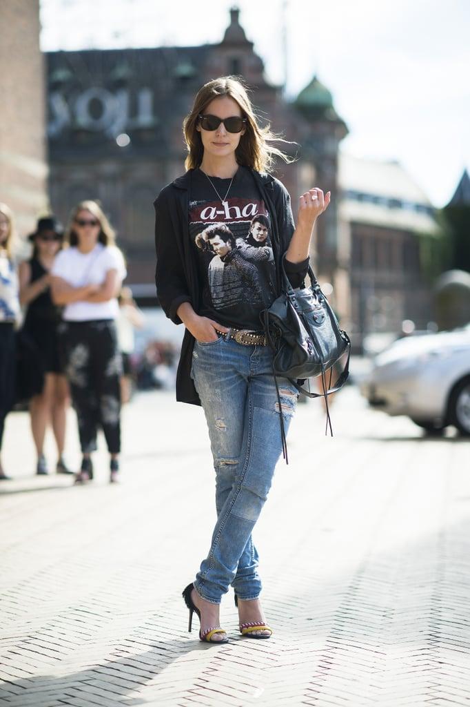 Laid-back, save for a pair of statement heels. Source: Le 21ème | Adam Katz Sinding
