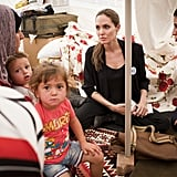 Angelina Jolie visited families in Istanbul in September.