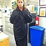 Jenna Fischer bundled up between takes on The Office. Source: Twitter user jennafisher