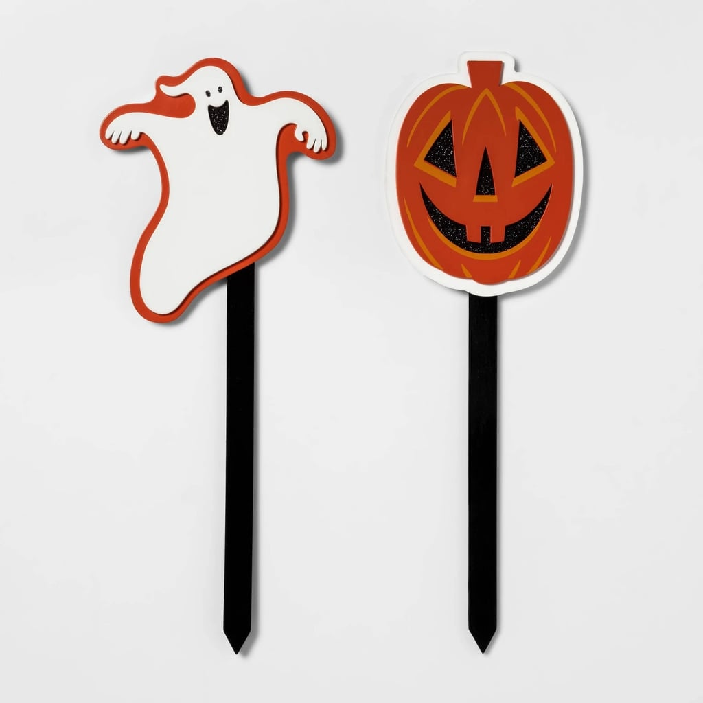 Pumpkin and Ghost Halloween Yard Stakes