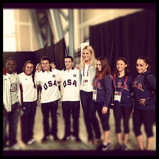 Lindsey Vonn towered over the US Gymnastics Team. Source: Instagram user lindseyvonn