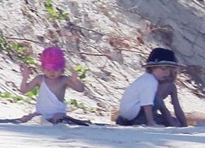 The Jolie-Pitt kids spend Thanksgiving at the beach