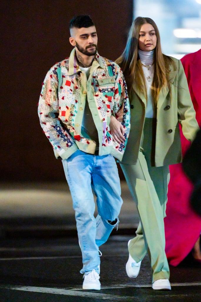 Zayn Malik With Gigi Hadid Wearing a Patchwork Coat in NYC