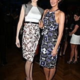 Looking like they should be hitting the runway themselves, Elizabeth Debicki and Megan Gale paired up ahead of the David Jones runway show on Wednesday night.