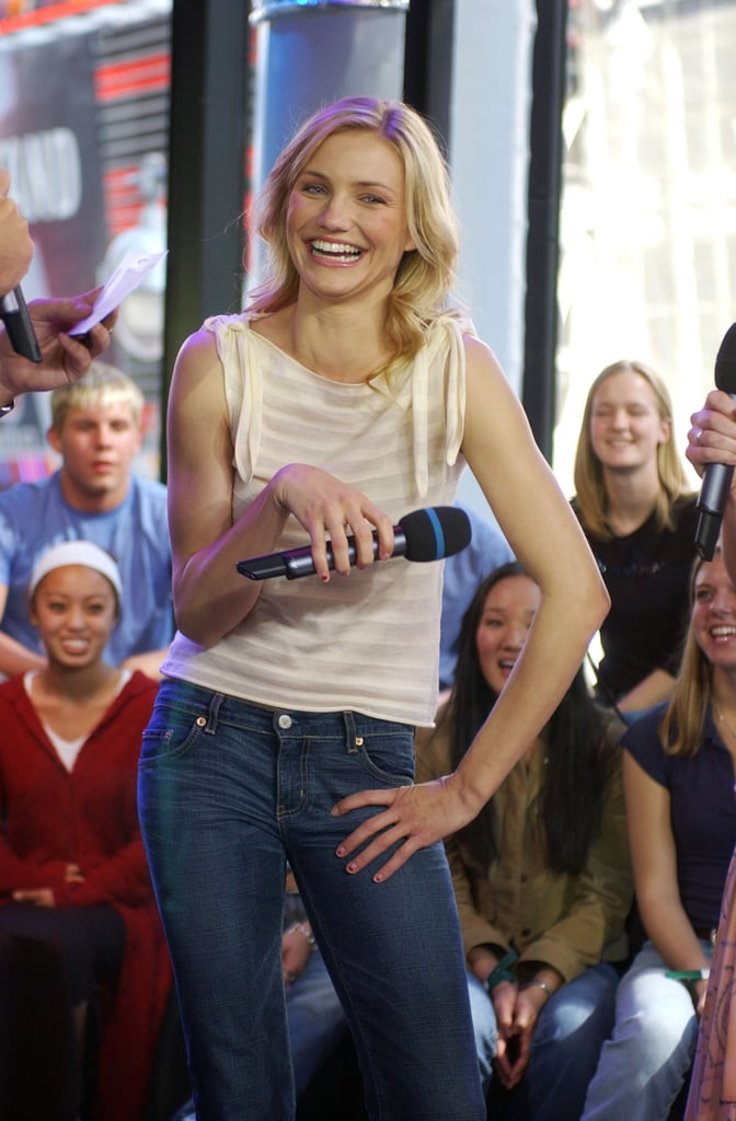 Cameron Diaz visited the TRL studio in NYC in 2002.
