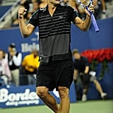Andy Roddick celebrated his first round victory at the US Open.
