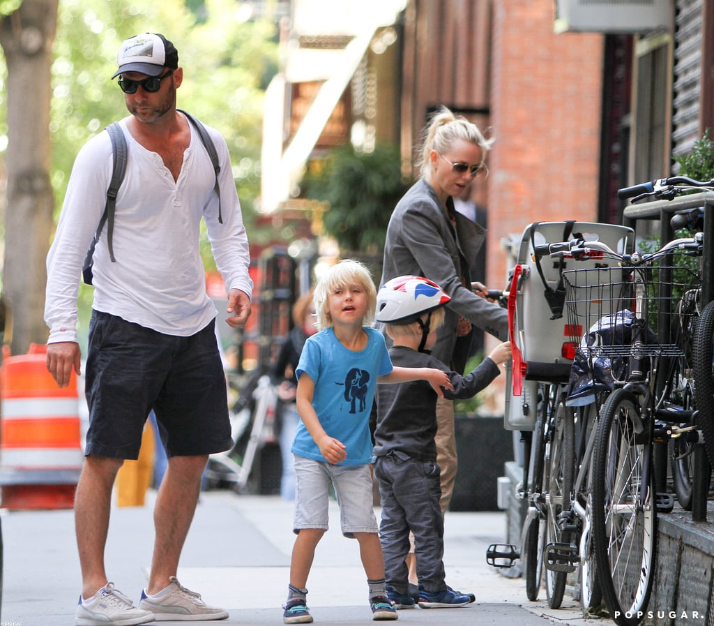 Liev Schreiber and Naomi Watts took their boys, Kai Schreiber and Sasha Schreiber, for a bike ride around NYC.