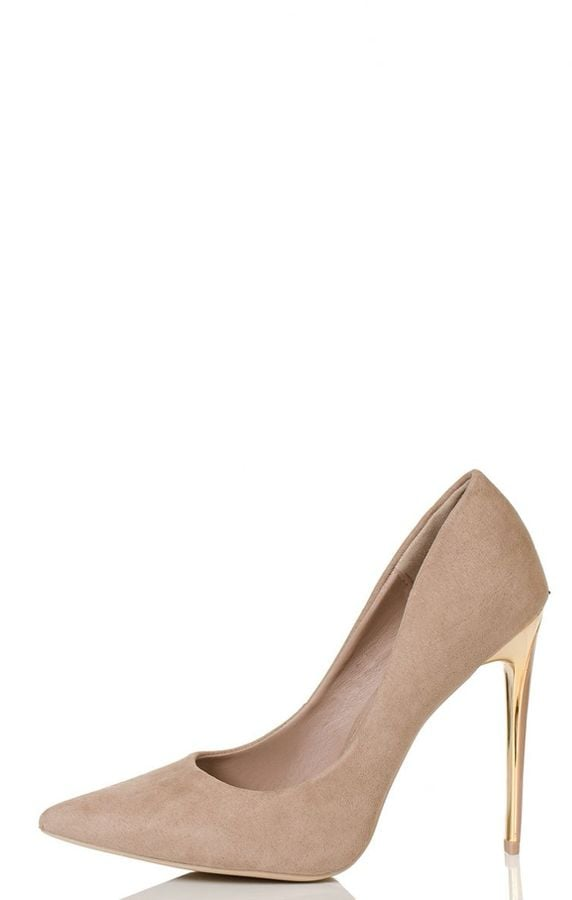Quiz Nude Faux Suede Gold Heel Court Shoes (£25)