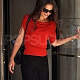 Katie Holmes in red.