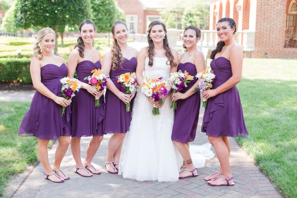 This bride went with short purple dresses for her bridesmaids ...