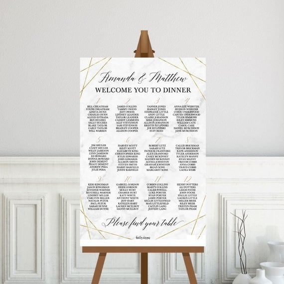 Marble and Gold Geometric Wedding Seating Chart Sign Template