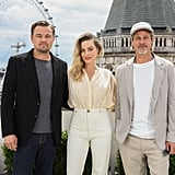 Leonardo DiCaprio, Margot Robbie, and Brad Pitt at the London photocall of Once Upon a Time in Hollywood.