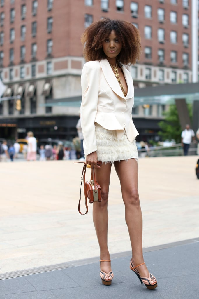 This cream-colored skirt suit is a perfect way to ease into your Winter whites.