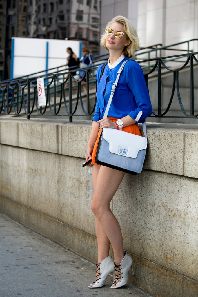 Colourblocked — plus serious heels.
