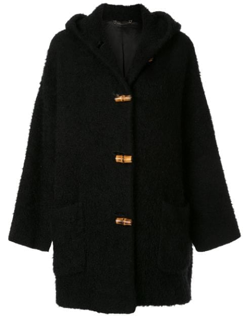 Gucci Pre-Owned Bamboo Line Textured Hooded Coat