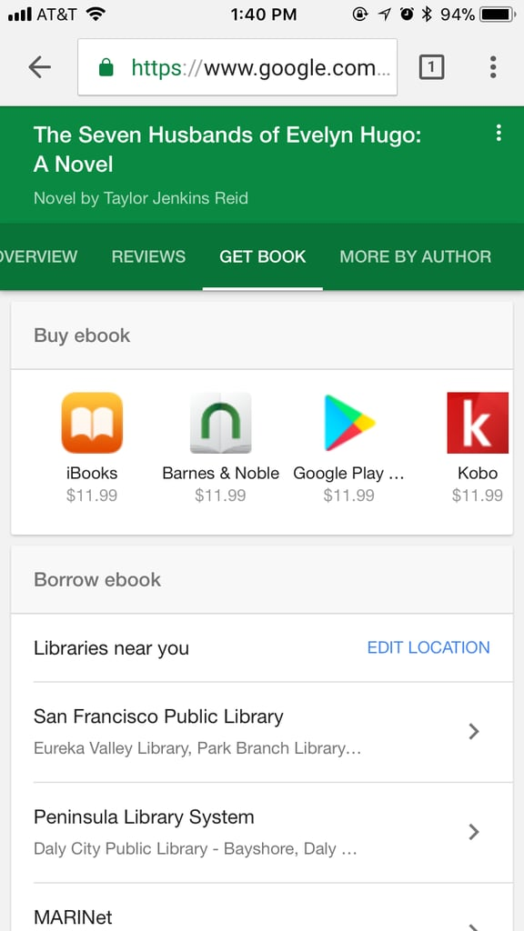 Head to Google.com on your phone and search for the book you're looking for.