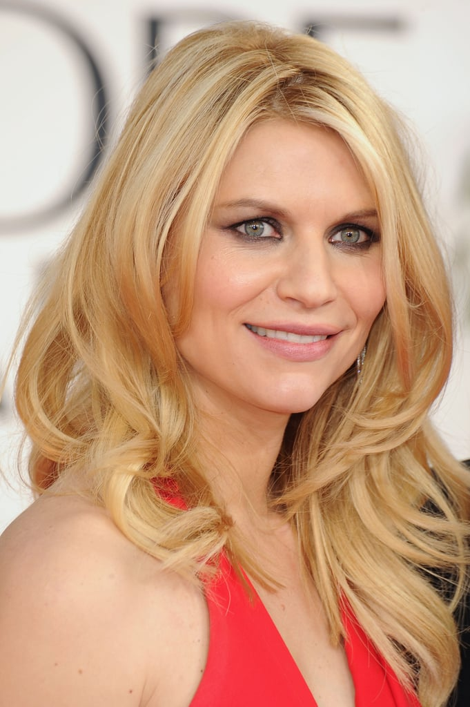 Claire Danes wore a red Versace gown.