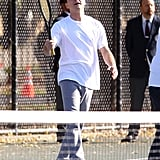 Leonardo DiCaprio took over the tennis court while filming.