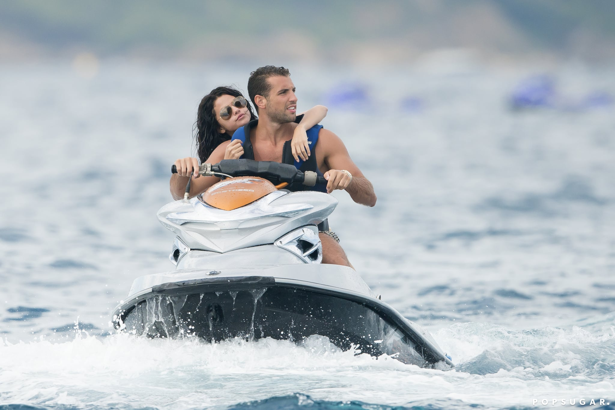 Selena Gomez went water-skiing with a mystery man in Saint-Tropez, France, on Tuesday.