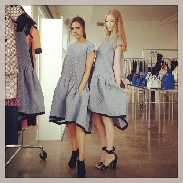 Victoria Beckham matched her Victoria Beckham frock with a model during a presentation. Source: Instagram user lauracraik