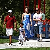 Jennifer Lopez and Casper Smart hung out with twins Max and Emme Anthony in LA.