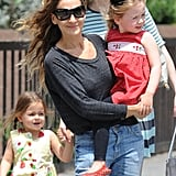 Sarah Jessica Parker walked her twins Tabitha and Loretta from school in NYC on Monday.