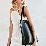 Silence + Noise Zip Pebbled Faux Leather Tote Bag