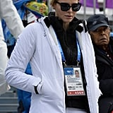Charlene attended the Alpine skiing event at the Winter Olympics in Sochi in 2014, rocking this white puffer and matching pants.