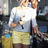 Cameron Diaz wore a pair of yellow shorts to go to the hair salon in LA.