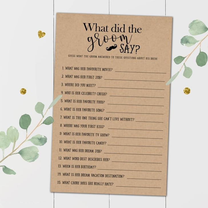 What Did The Groom Say About His Bride Printable Bridal