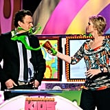 Jane Lynch splashed Jason Segel with slime in 2011.