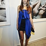 Alessandra Ambrosio worked a unique cobalt-and-black minidress at an art gallery opening in Hollywood.