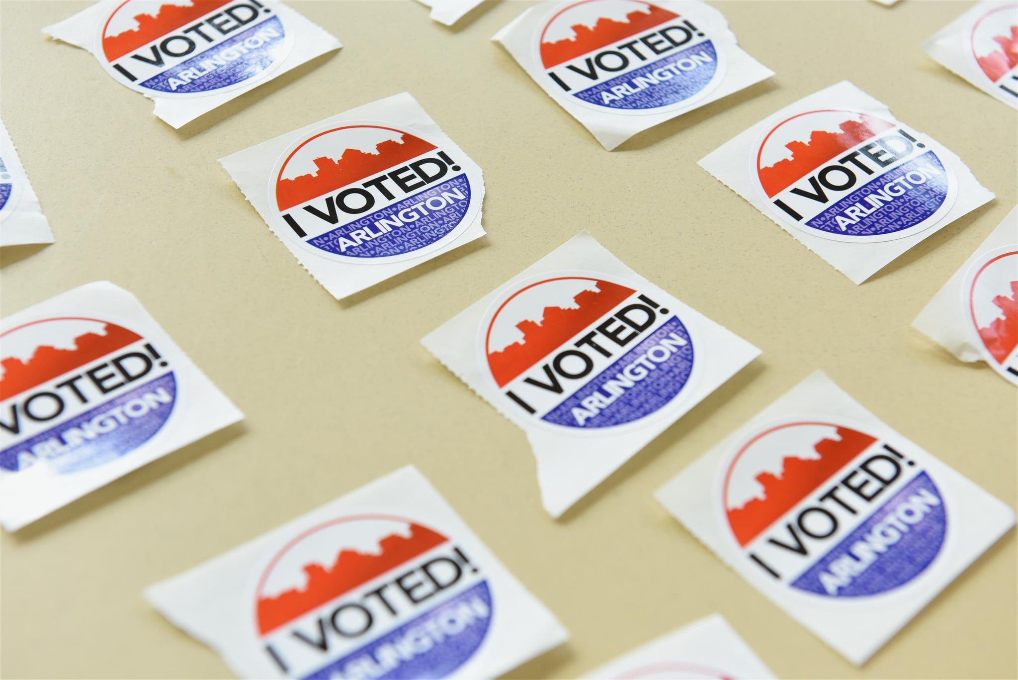 ARLINGTON, VIRGINIA - OCTOBER 31: 'I Voted' stickers are seen at a polling station during early voting for the U.S. Presidential election on October 31, 2020 in Arlington, United States. (Photo by Chen Mengtong/China News Service via Getty Images)