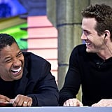 The guys cracked up on set.