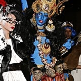 In 2008, she dressed up as Kali, the Hindu goddess of destruction. Her blue-paint look even had all eight arms.