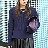 """This softly draped mini style was paired with a cozy sweater and colorful accessories during Spring 2012 Fashion Week in London.  Shop the look: <iframe src=""""http://widget.shopstyle.com/widget?pid=uid5121-1693761-41&look=4085074&width=3&height=3&layouttype=0&border=0&footer=0"""" frameborder=""""0"""" height=""""244"""" scrolling=""""no"""" width=""""286""""></iframe> Photo Courtesy of Stylesight"""