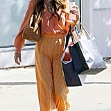 Jordana Brewster gave us street-style envy in a sherbet-hued skirt and blouse while shopping.