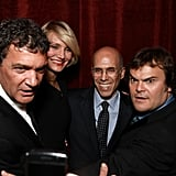 Cameron Diaz, Jack Black, and Antonio Banderas surrounded Jeffrey Katzenberg at a dinner in his honor at CinemaCon in Las Vegas.