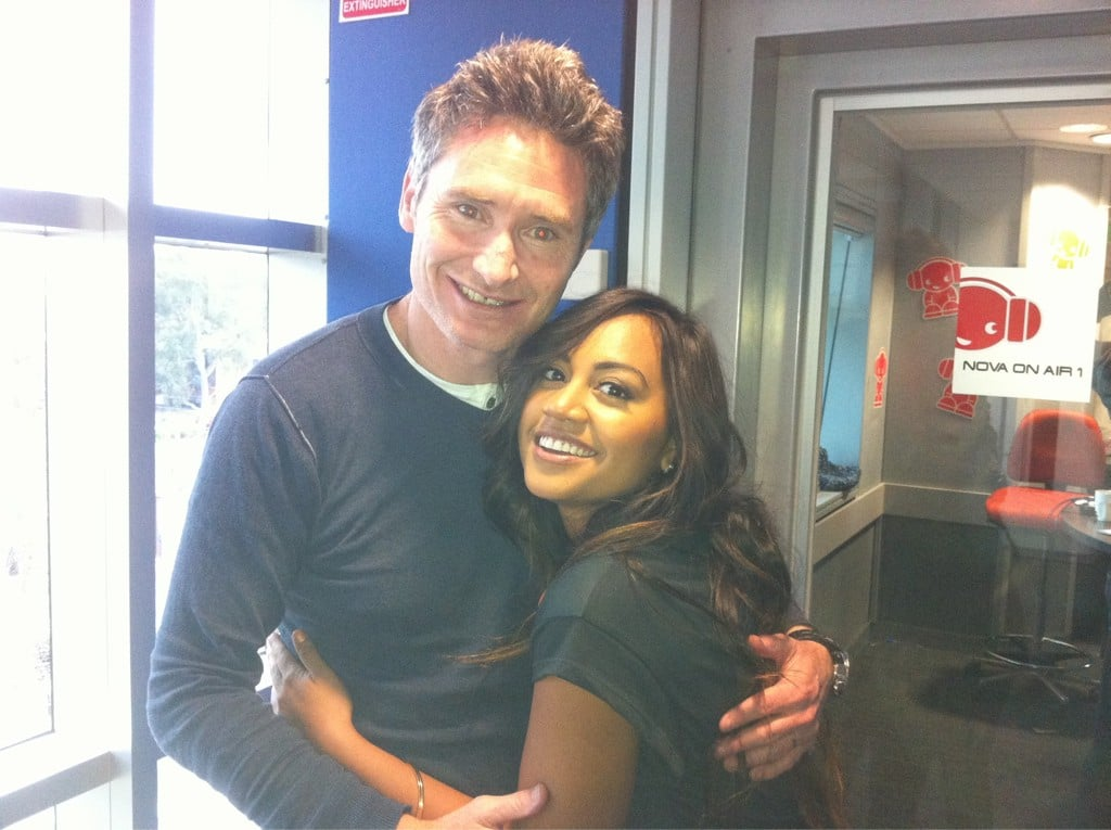 Jessica Mauboy cuddled up to Dave Hughes. Source: Twitter user jessicamauboy