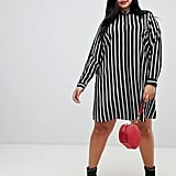 ASOS DESIGN Curve Mini Shirt Dress in Stripe With Long Sleeves