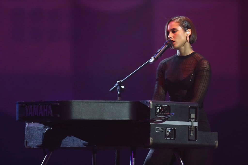 Alicia Keys sang at the awards.