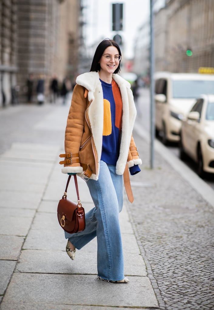 Opt For a Cosy Shearling Coat Over a Sweater