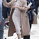 Meghan Markle Work Outfit Idea: A Knee-Length Dress and Trench Coat