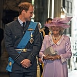 William and Camilla walked together during the National Commemorative Service for the anniversary of the Battle of Britain at Westminster Abbey in September 2010.